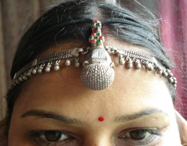 vintage antique tribal old silver hair ornament tika head ornament bellydance - $246.51