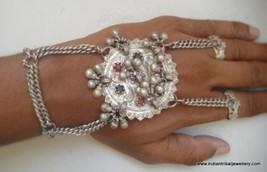 vintage antique ethnic tribal old silver dorsal hand ornament bracelet r... - $253.44