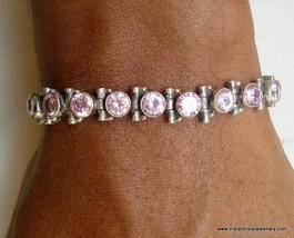sterling silver bracelet pink glass stones india - $94.05