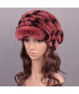 Red Women Knitted Rex Rabbit Fur Flat fur Hats Winter Hat Winter Cap Fas... - $48.00
