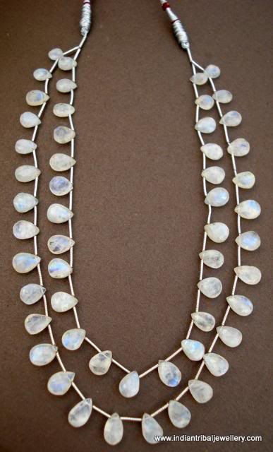 Primary image for 138 CT MOON GEM STONES BEAD DROPS NECKLACE STRAND