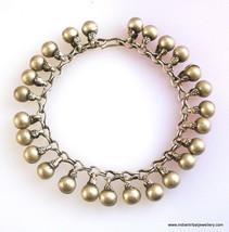 vintage antique tribal old silver bells beads bracelet cuff belly dance ... - $286.11