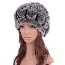 8 Colors Womens Knitting Hat Rabbit Fur Hats Winter Hat Flower cap Earcu... - $36.00