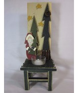 Santa Green Candle Holder Decorative Christmas Holiday Decor Trees - $29.69