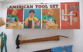 Vintage Boys' Metal Toolbox Toolchest  Hand Tools American Tool Set Chic... - $35.00