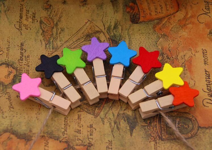 Primary image for 30pcs/pack 8 colors Cute Star Wooden Clips,Photo Wooden Pegs,Pin Clothespin
