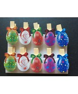10pcs Colorful Eggs Wooden Clips,Wooden Pegs,Easter Party Favors,Pin Clo... - $3.20