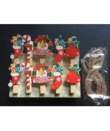 60pcs Wooden Paper Clips,Wooden Photo Pegs,Christmas Party Drop Ornament - $11.50