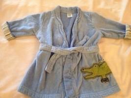 Carters Boys Blue Bath Robe Green Alligator 0-9 Months - $5.00
