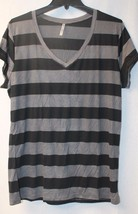 New Womens Plus Size 3X Gray & Black Wide Striped Long Sleeve V Neck Tee Shirt - $19.34