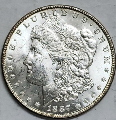 1887 $1 Morgan Silver Dollar Coin Lot # E 116