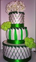 Emerald Green and Silver Themed Baby Shower Elegant 3 Tier Beaded Diaper... - $75.00