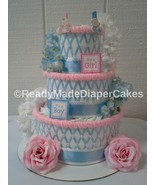 Pink and Blue Gender Reveal Themed Baby Shower 3 Tier Diaper Cake Center... - $50.00