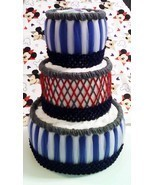 Red , Navy Blue and Grey Mickey Mouse Themed Baby Boy Shower 3 Tier Diap... - $65.00