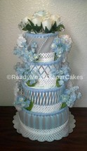 Blue , Grey and White Elegant Winter Themed Baby Shower 4 Tier Diaper Ca... - $80.00