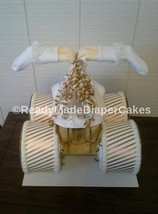 Gold and Ivory Themed Baby Shower Decor Four Wheeler Diaper Cake Gift - $75.00