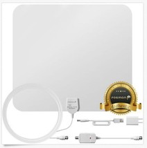 Fosmon [60 Mile] Thin Flat Indoor HDTV Amplified HD TV Antenna 16FT Coax White - $31.78