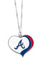 Atlanta Braves MLB Sports Team Logo Charm Gift Glitter Heart Necklace - €7,61 EUR
