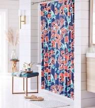 Shower Curtain Windblown Floral Orange Blue Thr... - $19.16