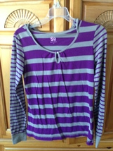 women's striped purple & grey hooded top by S size large - $29.99