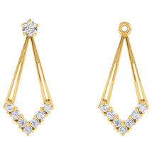 14K Yellow Gold Diamond Drop Earring Jackets - $525.00
