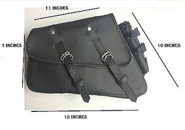 Black leather solo bag saddlebag for harley 200... - $129.99