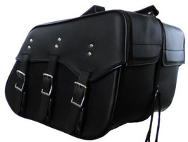 Genuine Cowhide Leather Saddlebags set for harley dyna low rider 3 strap... - $149.99