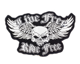 Live Free Ride Free Back Patch for Vest Jacket Winged Skull Black and Wh... - $19.99