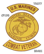MARINES COMBAT VETERAN Brown on Gold Iron on 3 ... - $34.99