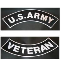 US Army Veteran Vet PATCH SET Biker Motorcycle Veterans Patches New Blac... - $21.99