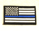 US flag White on black with blue stripe Small Badge Patch for Biker Vest SB787