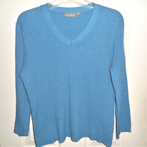 WOMEN'S CROFT & BARROW MED TEAL BLUE RIBBED KNIT SWEATER V-NECK 100% COTTON - $8.91