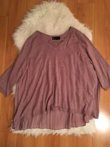 Lane Bryant Purple Sweater with Pleated Semi-Sheer Back  Long Sleeve Plu... - $19.80
