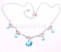 Blue Lilac Swarovski Element Crystal Necklace White Gold Plated Choker UK - $16.86