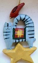 Happy Blue Cat with Bird Folk Art Wood Carved Ornament - $16.99