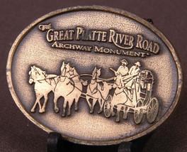 Vtg Great Platte River Road Belt Buckle-Archway Monument-Horse Team-Cowb... - $23.36