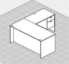 Chiarreza L-Shaped Desk with hanging box/file pedestals, Oxford Grey - $899.99
