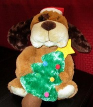 """2009 Tekky Toys Flapping Ears Dog Animated Plush 11"""" With Tree Christmas - $25.24"""