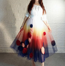 Women Flower Embroidery Long Tulle Skirt Outfit Custom Plus Size Princess Outfit image 11