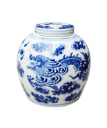 "Beautiful Blue and White Porcelain Ginger Jar Dragon Motif 9"" with Lid - $98.99"