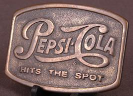 "Vtg Pepsi Cola ""Hits the Spot"" Solid Brass Belt Buckle-Carbonated Bevera... - $19.62"