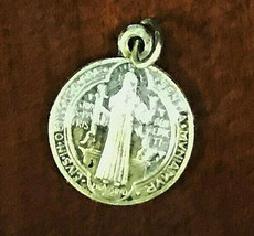 Antique Sterling Silver St. Benedict Medal Design Religious Charm Cathol... - $28.12