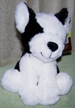 "Animal Adventures Black & White Puppy Dog 8""H Plush NWT Adorable - $9.50"