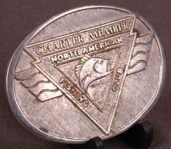 Vtg North American Fishing Club Charter Member Belt Buckle-24K Gold & Rh... - $27.10