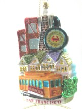 San Francisco  Glass Ornameny City Scapes Noble Gems CABLE CAR, Golden G... - $24.70