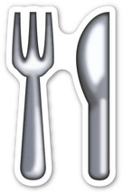 Emoji Knife and Fork sign sticker 100mm or 150mm cutlery kitchen advisory  - $3.00+