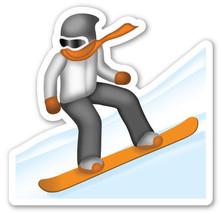 Emoji Snowboarder shaped vinyl sticker 100mm or 150mm app iPhone iPad - $3.00+