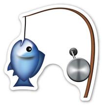 Emoji Fishing Rod shaped vinyl sticker 100mm or 150mm iPhone iPad carp d... - $3.00+