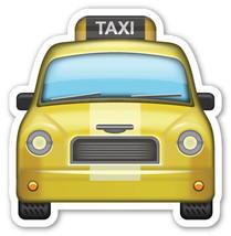 Emoji Taxi Car frontal shaped vinyl sticker 100mm or 150mm motorcar cab ... - $3.00+