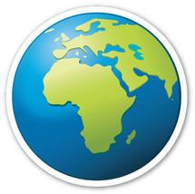 Emoji Earth shaped vinyl sticker 100mm or 150mm iPhone iPad round flat - $3.00+